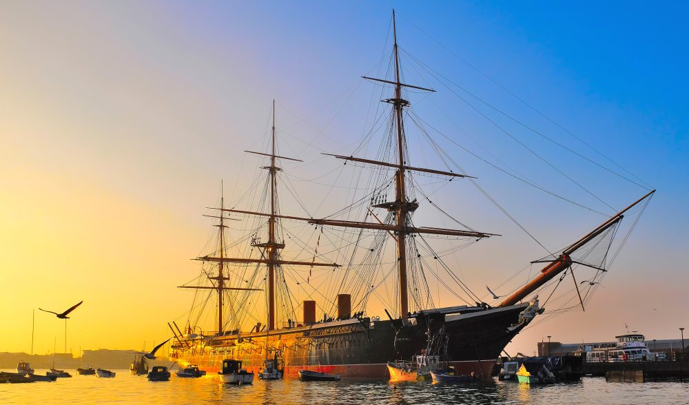 HMS Warrior at the historic Portsmouth dockyards
